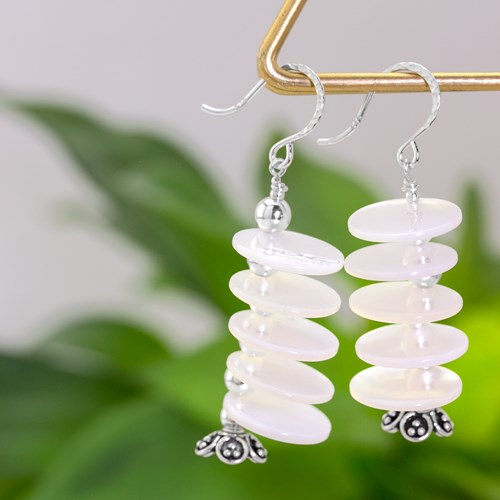 Mother of Pearl Disc Drop Earrings 10954E