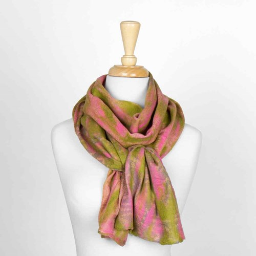 Pink & Green Nuno Felted Scarf 10317A