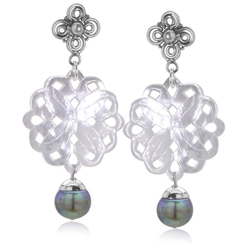The Goddess Collection Carved Mother of Pearl with Peacock Freshwater Pearls Dangle Earrings 10681E