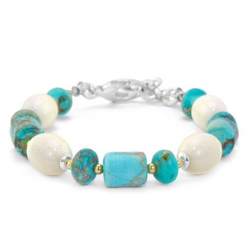 The Goddess Collection Turquoise & Bone Bracelet Made in the USA