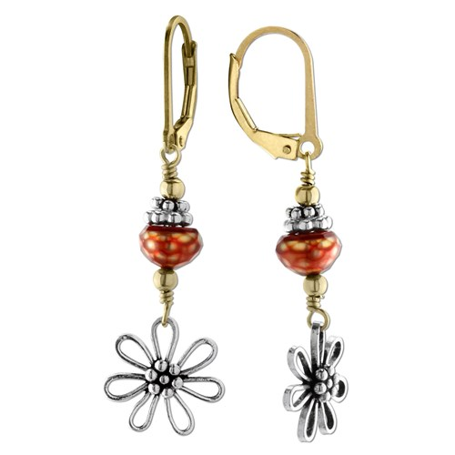 Elisa Ilana Red Faceted Pearl Daisy Earrings