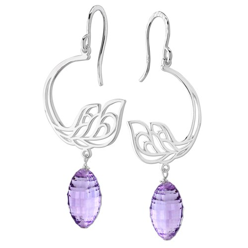 Elisa Ilana Light Amethyst Peacock Earrings