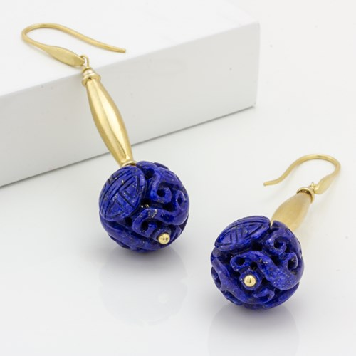 Impressionist Collection Carved Lapis Lazuli Earrings 10712E