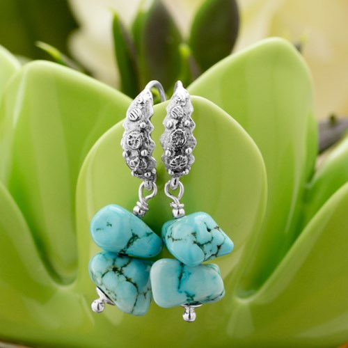 Impressionist Collection Turquoise Drop Earrings 10897E