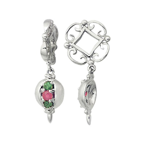 Storywheels Emerald & Ruby Ornament Dangle 14K White Gold Wheel