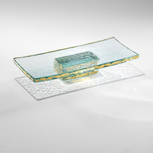 Annieglass Pedestal Slab-Gold