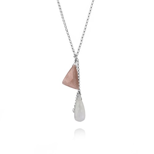 Elisa Ilana White and Pink Moonstone Necklace