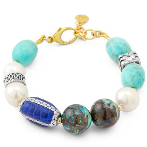 Impressionist Collection Alligator & Amazonite Bracelet 10823B