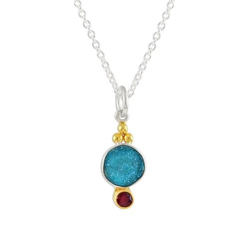 Roulette 18 Druzy & Ruby Necklace 7048NDRUZY