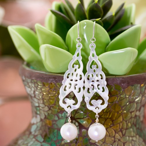 The Goddess Collection Mother of Pearl & Pearl Earrings 10905E