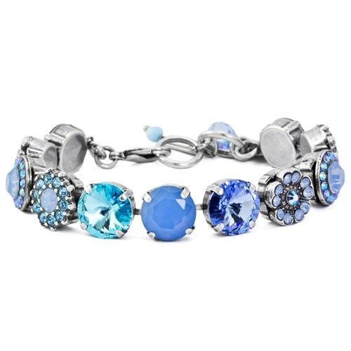 Mariana Light Blue Flower Bracelet B-4084R-1343-SP