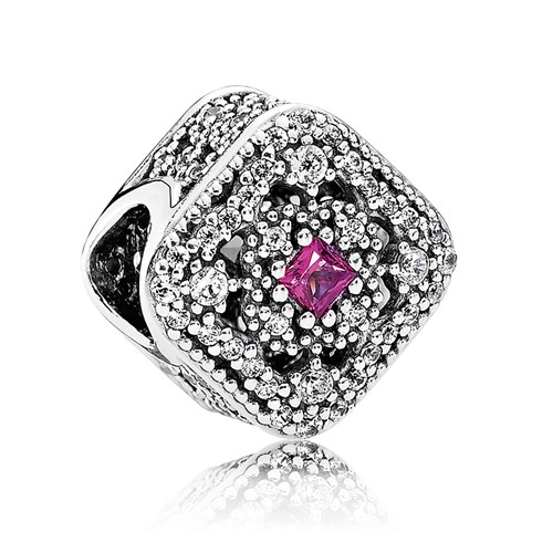 PANDORA Fairytale Treasure with Cerise Crystal & Clear CZ Charm