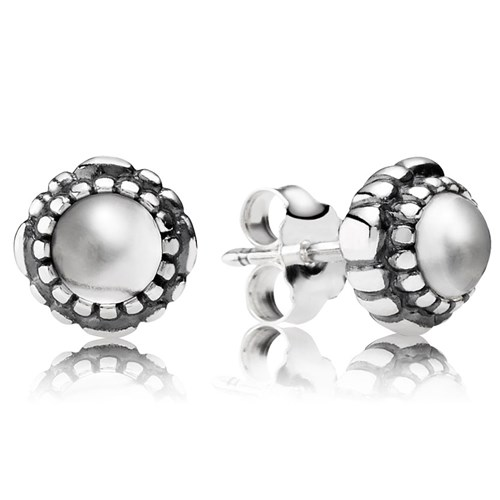 PANDORA Rock Crystal April Birthday Bloom Stud Earrings