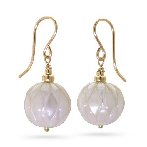 Carved Pearl Drop Earrings