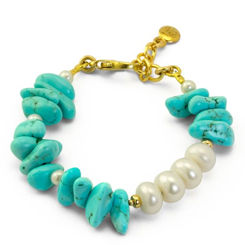 Impressionist Collection Chunky Turquoise & Pearl Bracelet 10843B1