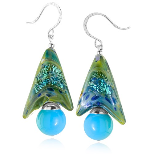 The Goddess Collection Fo Turquoise & Glass Earrings  10747E