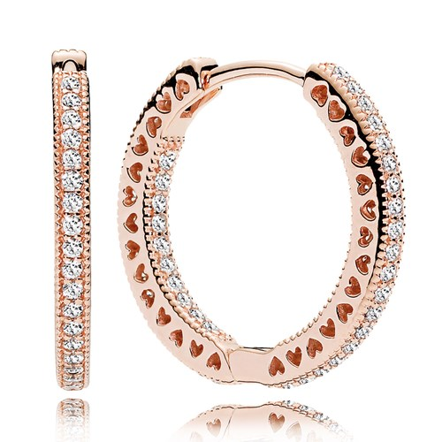 Rose Gold Hearts of PANDORA CZ 20 mm Hoop Earrings