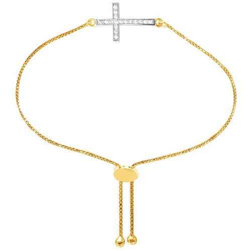 Dora Cross CZ Petite Friendship Bracelet Gold