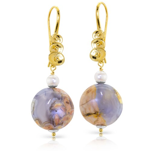 Impressionist Collection Veined Chalcedony Dangle Earrings 10837E