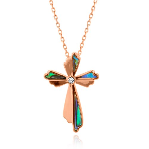 Rose Gold Venus Floral Diamond Cross Necklace P3749A-4-PAL