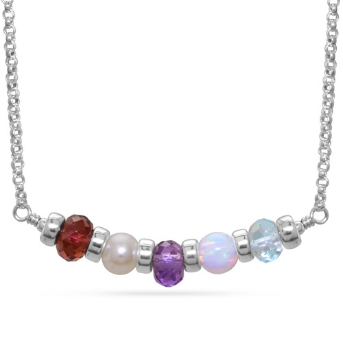 Sterling Silver Customizable Birthstone Bar Necklace