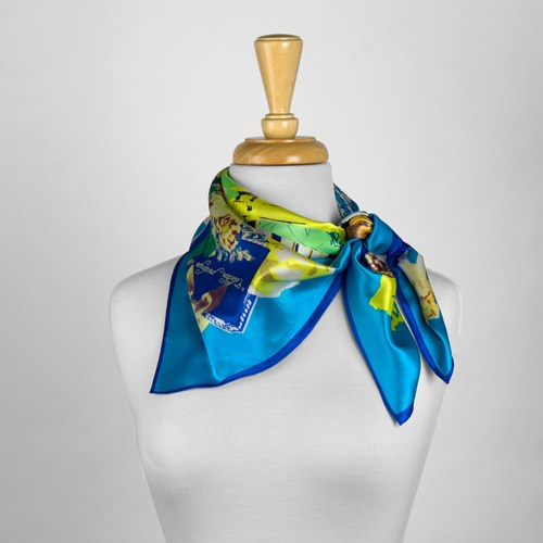 Blue and Yellow Abstract Silk Scarf