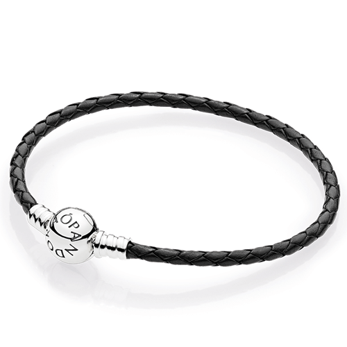 PANDORA Black Braided Leather Charm Bracelet