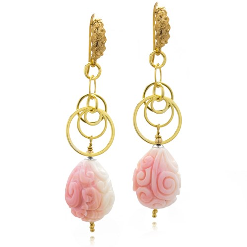 The Goddess Collection Carved Mother of Pearl Dangle Earrings 10678E