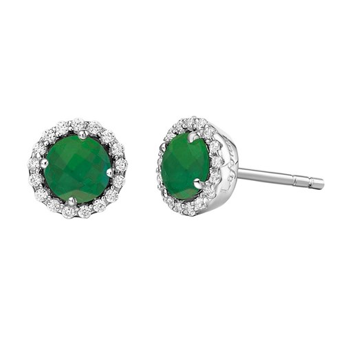 Simulated Emerald Birthstone Stud Earrings BE001EMP00