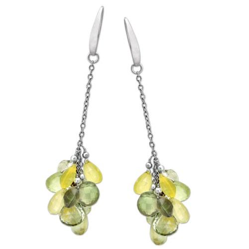 Elisa Ilana Prehnite Green Cluster Earrings