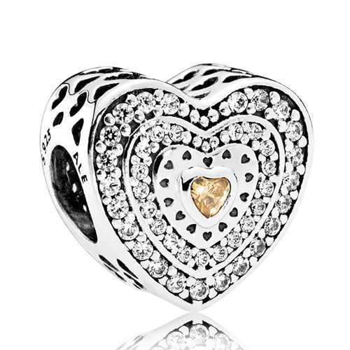 PANDORA Lavish Heart, Fancy-Colored & Clear CZ Charm