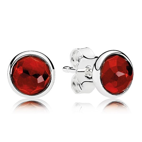 PANDORA July Droplets, Synthetic Ruby Earrings