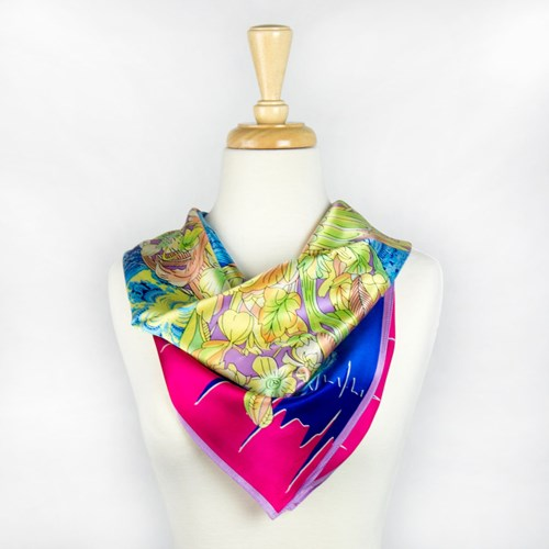 Multi Colored Abstract Silk Scarf