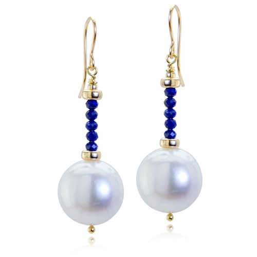 Impressionist Collection Lapis & Pearl Drop Earrings 10926E