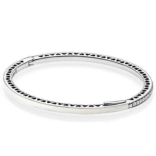 PANDORA Radiant Hearts of PANDORA, Silver Enamel & Clear CZ Bangle