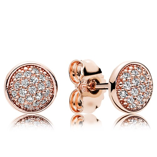 PANDORA Dazzling Droplets Rose Gold CZ Stud Earrings