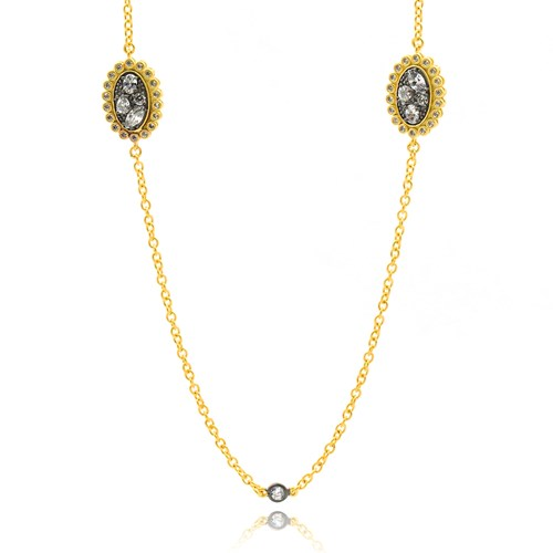 Freida Rothman Rose D'or Pebbled Station Wrap Necklace Detail