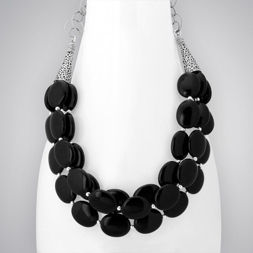 Elisa Ilana Black Agate Statement Necklace