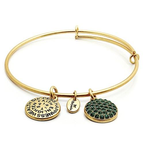 Chrysalis MAY Emerald Crystal Gold Bangle