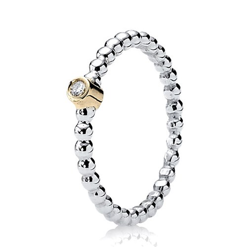 PANDORA Evening Star with 14K & Diamond Stackable Ring