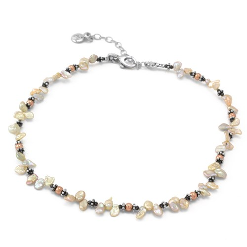 Hematite & Keshi Pearl Necklace