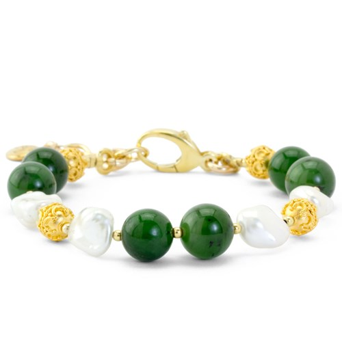 The Goddess Collection Jade & Keshi Pearl Bracelet