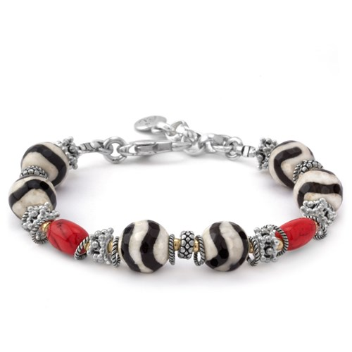 Elisa Ilana Black and White with Red Coral Bracelet