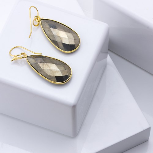 The Goddess Collection Pyrite Teardrop Earrings
