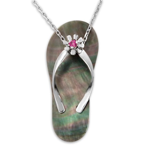 Galatea Ruby with Black Mother of Pearl Flip Flop Pendant