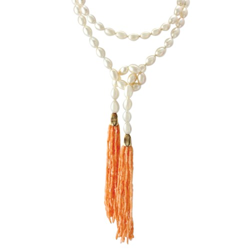 White Pearl and Coral Necklace 10029A
