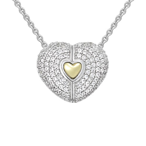 Petra Azar Heart of Gold White Sapphire Necklace