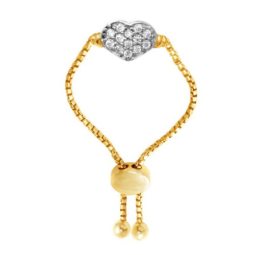 Hallie Heart Bolo CZ Ring Gold