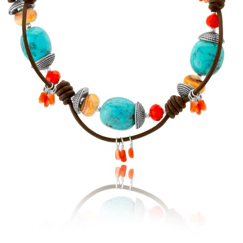 Leather & Turquoise Necklace