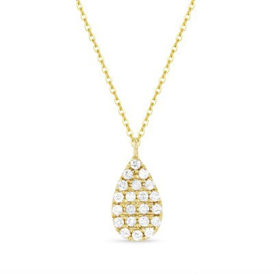14K Yellow Gold Diamond Pear Shaped Necklace N1355Y